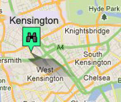 Click for map of Kensington hotels